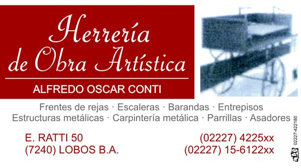 """Tarjeta Personal """"Herrería de Obra Artística"""""""