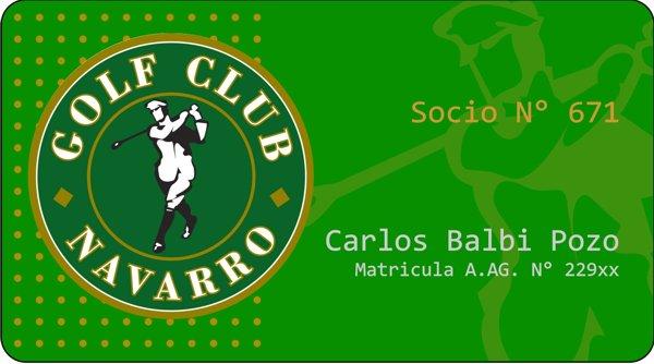 """Credencial Plástica """"Golf Club Navarro"""""""
